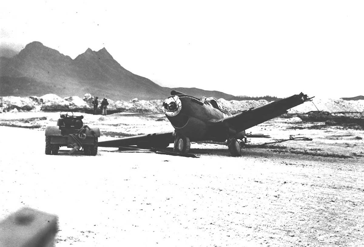 P-40 after Japanese attack on Bellows Field,December 1941. U.S. National Archives.