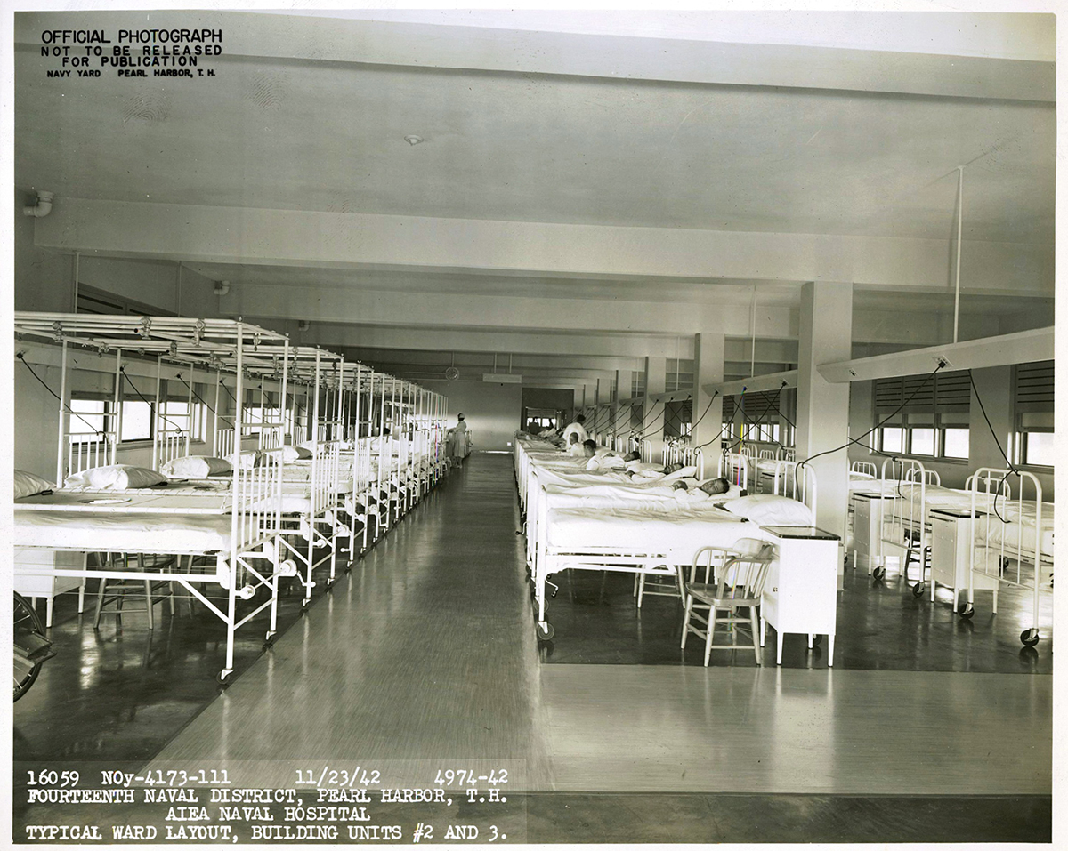 Standard wards within Aiea Naval Hospital 23 November 1942.