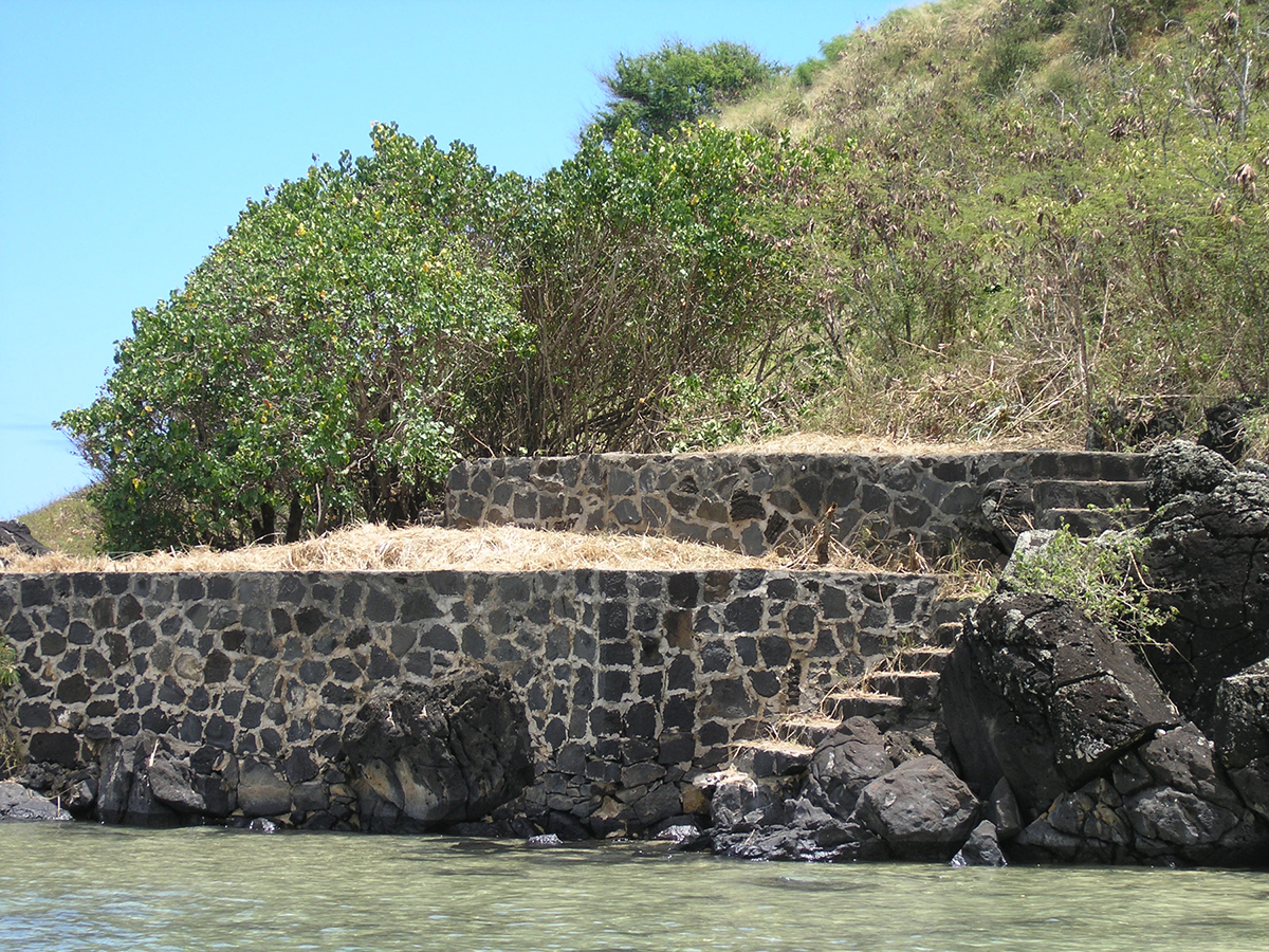 Stairs leading to the Phillip Martella House, which had terraced gardens and views of Kāne'ohe Bay.