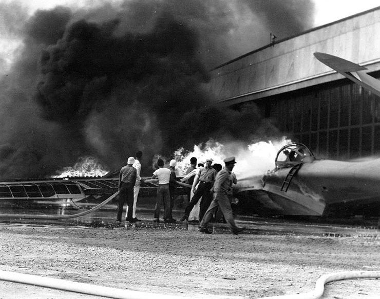 PBY on fire, 7 December 1941. U.S. National Archives.