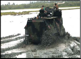 "Annual Amphibious Assault Vehicle ""Mud Ops"" train Marines while removing weeds, creating better habitats for endangered birds such as the Ae'o (Hawaiian Stilt) living in Nu'upia Ponds.  Photo by: LCpl. Derek Davis, Combat Camera"