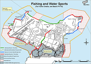 Small map of fishing and water sports locations.