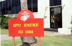 The supply building sign.